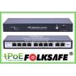 FOLKSAFE FS-S1008EP-2E: 10 портов суич с 8 x 10/100 Mbps PoE порта за IP камери + 2 x 10/100 Mbps uplink порта, до 30 W на порт. Общ PoE капацитет 120 W