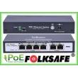 FOLKSAFE FS-S1004EP-2E: 6 портов суич с 4 x 10/100 Mbps PoE порта за IP камери + 2 x 10/100 Mbps uplink порта, до 30 W на порт. Общ PoE капацитет 60 W