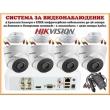 Система за видеонаблюдение HIKVISION HD-TVI 1 мегапиксел - 4 куполни камери с EXIR инфрачервено осветление до 40 метра, за външен и вътрешен монтаж