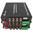 Комплект приемник и предавател за пренос на 4 видеосигнала по оптичен кабел до 20 км HANDAR HD-AHD-4V1D-T/RF: 4 в 1 - поддържа HD-TVI/AHD/CVI/CVBS камери