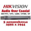 4 канален професионален цифров видеорекордер HIKVISION DS-7204HUHI-K1(S). Поддържа 4 HD-TVI камери до 5 MPX, AHD до 5 MPX, CVI до 4 MPX, H.265 Pro+/H.265 Pro/H.265 компресия, Audio Over Coaxial