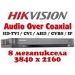 8 канален професионален 4K цифров видеорекордер HIKVISION DS-7208HUHI-K2(S). Поддържа 16 HD-TVI камери до 8 MPX, AHD до 5 MPX, CVI до 4 MPX, H.265 Pro+/H.265 Pro/H.265, 2 SATA, Audio Over Coaxial