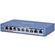 HIKVISION DS-3E0109P-E(C): 9 портов суич с 8 x 10/100 Mbps PoE порта + 1 x 10/100 Mbps uplink порт, до 30 W на порт. Общ PoE капацитет 115 W