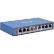 HIKVISION DS-3E1309P-EI: Управляем 9 портов суич с 8 x 10/100 Mbps PoE порта + 1 x 10/100 Mbps uplink порт, до 30 W на порт. Общ PoE капацитет 110 W