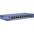 HIKVISION DS-3E0510P-E/M: 10 портов суич с 8 x 1 Gbps PoE порта + 1 x 1 Gbps uplink порт + 1 x 1 Gbps SPF fiber optic port. До 30 W на порт. Общ PoE капацитет 58 W