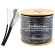 Кабел мрежов FTP/M Cat5e 4x2x24 AWG CU със стоманено носещо въже: черен, изцяло медни жила, екраниран с алуминиево фолио, PVC изолация с UV защита. 1 линеен метър