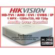 8 канален бюджетен цифров видеорекордер HIKVISION DS-7108HGHI-F1/N(S). Поддържа 8 HD-TVI камери до 1 MPX с H.264 компресия + 2 IP камери до 5 MPX. С Audio Over Coaxial технология
