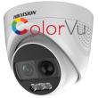 HD-TVI/AHD/CVI/CVBS куполна камера HIKVISION DS-2CE72DFT-PIRXOF28: 2 MPX 1920x1080 px. ColorVu с вградено бяло LED осветление до 20 метра, PIR сензор, алармена светлина и сирена, обектив 2.8 mm